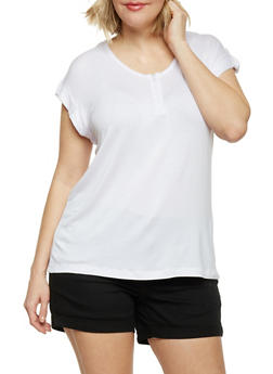 Plus Size Short Sleeve Front Zip Top - WHITE - 1912038347124