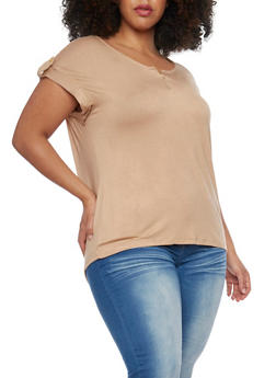 Plus Size Short Sleeve Front Zip Top - 1912038347124