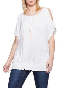 Plus Size Cold Shoulder Smocked Hem Top with Necklace - IVORY - 1912038347128