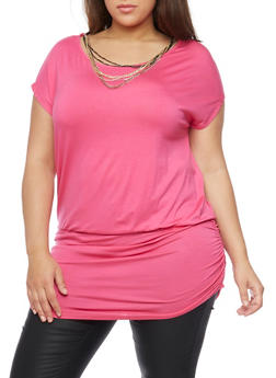 Plus Size Ruched Hem Tunic Top with Necklace - 1912038347129
