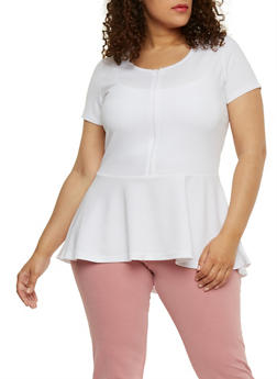 Plus Size Zip Front High Low Peplum Top - WHITE - 1912038347155