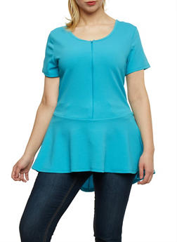 Plus Size Zip Front High Low Peplum Top - 1912038347155