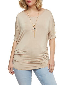 Plus Size Ruched Dolman Sleeve Top with Necklace - 1912038347185