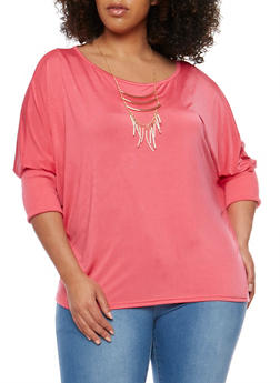 Plus Size Dolman Sleeve Top with Necklace - 1912038347191