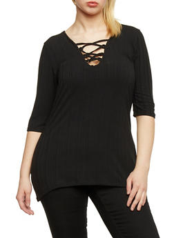 Plus Size Rib Knit Lace Up Tunic Top - BLACK - 1912038347217