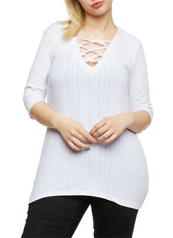 Plus Size Rib Knit Lace Up Tunic Top - 1912038347217