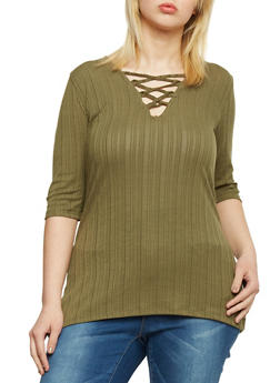 Plus Size Rib Knit Lace Up Tunic Top - OLIVE - 1912038347217