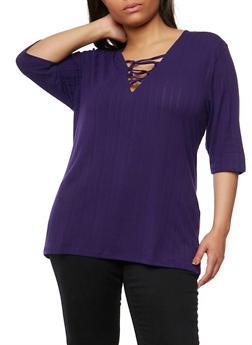 Plus Size Rib Knit Lace Up Tunic Top - PURPLE - 1912038347217