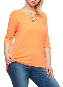 Plus Size Rib Knit Lace Up Tunic Top - CORAL - 1912038347217