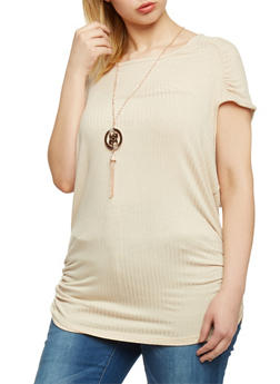 Plus Size Cap Sleeve Ribbed Knit Tunic with Necklace - 1912038347221