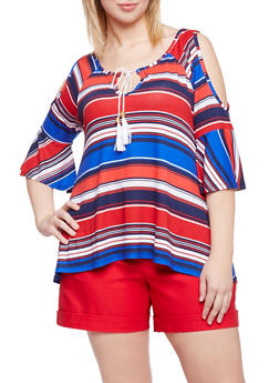 Plus Size Multicolor Striped Swing Top with Keyhole Tie - 1912038347281