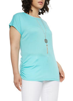 Plus Size Ruched Side Top with Necklace - 1912038348008