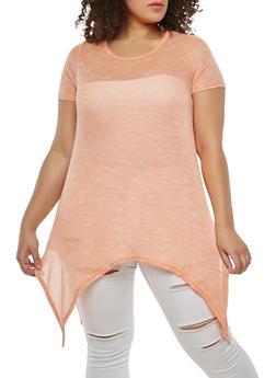 Plus Size Sharkbite Hem Knit Top - 1912038348009