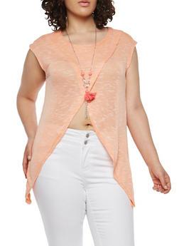 Plus Size Asymmetrical Hem Knit Top with Necklace - 1912038348011