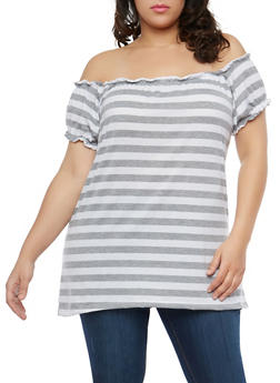 Plus Size Striped Off the Shoulder Top - 1912038348012