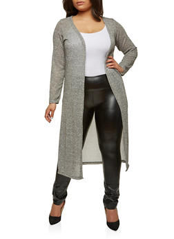 Plus Size Glitter Knit Duster - 1912038348015