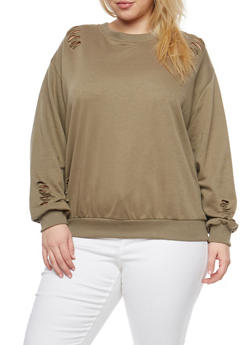 Plus Size Distressed Sweatshirt - 1912051060084