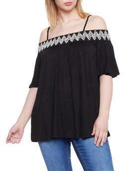 Plus Size Embroidered Trim Off the Shoulder Peasant Top - 1912051064516