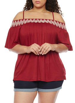 Plus Size Embroidered Trim Off the Shoulder Peasant Top - BURGUNDY - 1912051064516