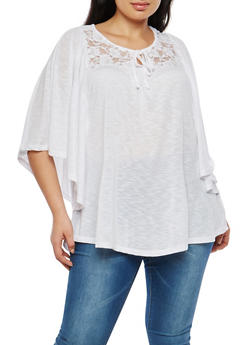 Plus Size Dolman Sleeve Lace Yoke Top - 1912051065266