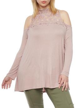 Plus Size Cold Shoulder Crochet Yoke Long Sleeve Top - 1912051065290