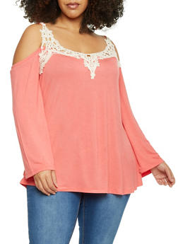 Plus Size Cold Shoulder Top with Crochet Accent - 1912051065295