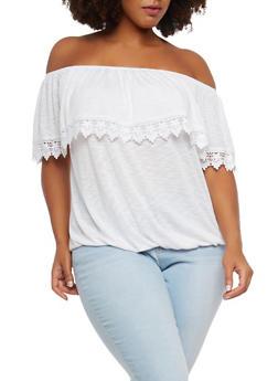 Plus Size Crochet Trim Off the Shoulder Top - 1912051065647