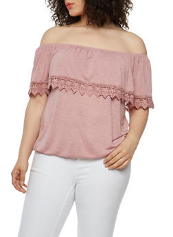 Plus Size Crochet Trim Off the Shoulder Top - 1912051065647