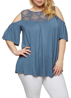 Plus Size Crochet Trim Cold Shoulder Top - 1912051065835