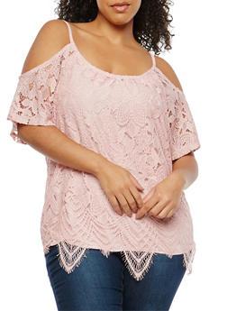 Plus Size Crochet Cold Shoulder Top - 1912051065945