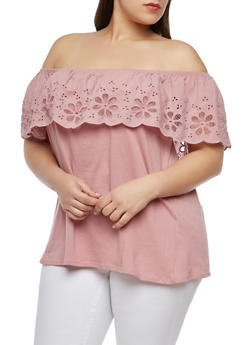 Plus Size Off the Shoulder Eyelet Top - 1912051066037