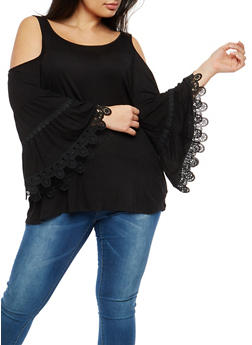 Plus Size Cold Shoulder Bell Sleeve Top - 1912051066043