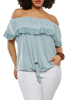 Plus Size Tie Front Off the Shoulder Top - 1912051066319