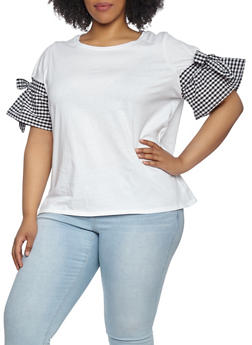 Plus Size Gingham Sleeve Tee - 1912051066332