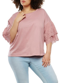 Plus Size Eyelet Tiered Sleeve Top - 1912051066430