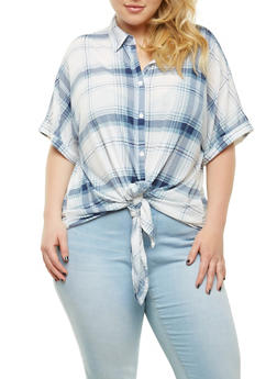 Plus Size Plaid Tie Front Shirt - 1912051066520