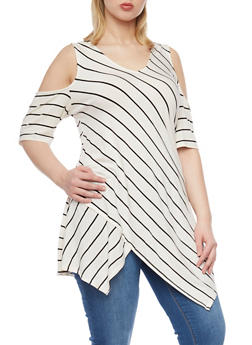 Plus Size Striped Cold Shouder Tunic with Asymetrical Hem - 1912051066564