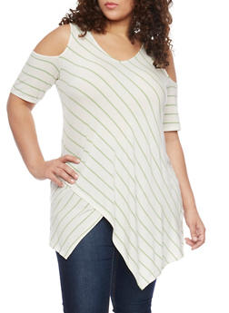 Plus Size Striped Cold Shoulder Tunic with Asymmetrical Hem - 1912051066564