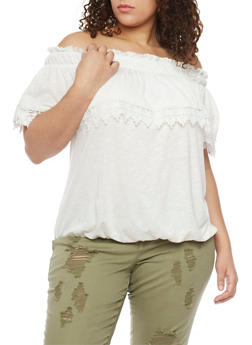 Plus Size Off The Shoulder Peasant Top with Crochet Trim - WHITE - 1912051068795
