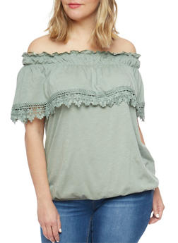 Plus Size Off The Shoulder Peasant Top with Crochet Trim - 1912051068795