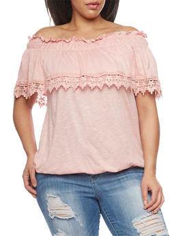 Plus Size Off The Shoulder Peasant Top with Crochet Trim - ROSE - 1912051068795