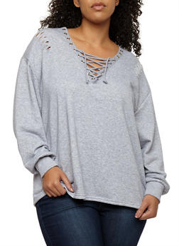 Plus Size Slashed Lace Up Sweatshirt - 1912051069683