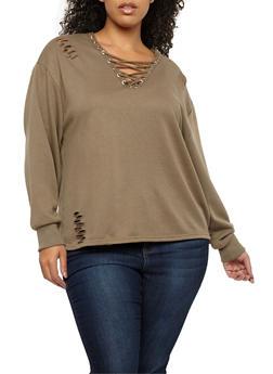 Plus Size Slashed Lace Up Sweatshirt - OLIVE - 1912051069683