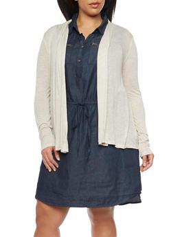 Plus Size Long Sleeve Open Front Cardigan - 1912054260013