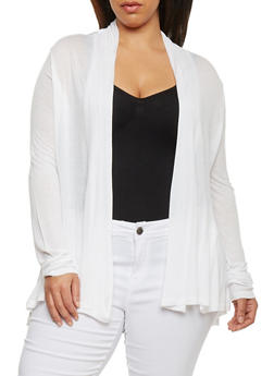 Plus Size Long Sleeve Open Front Cardigan - WHITE - 1912054260013