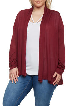 Plus Size Long Sleeve Open Front Cardigan - BURGUNDY - 1912054260013