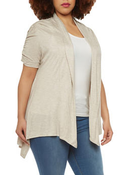 Plus Size Open Cardigan With Ruched Sleeves And Asymmetrical Hem - 1912054260061