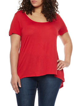 Plus Size Scoop Neck T Shirt with Back Detail - 1912054260221