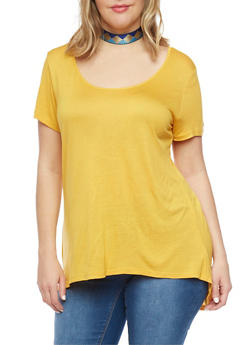 Plus Size Scoop Neck T Shirt with Back Detail - MUSTARD - 1912054260221