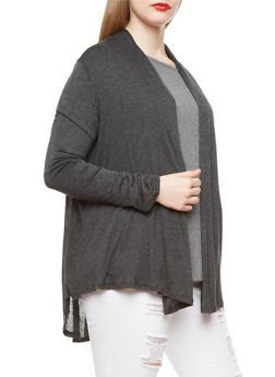 Plus Size Sheer Open-Front Long Sleeve Cardigan,CHARCOAL,medium